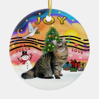 Xmas Music #2 - Bob Tail Tabby Cat Ceramic Ornament