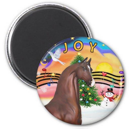 Xmas Music 2 - Brown Arabian Horse 2 Inch Round Magnet