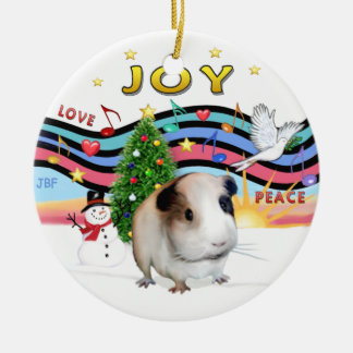 Xmas Music 2 - Brown Guinea Pig #1 Double-Sided Ceramic Round Christmas Ornament