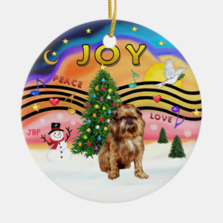 Xmas Music 2 - Brussels Griffon (red/brown) Ceramic Ornament