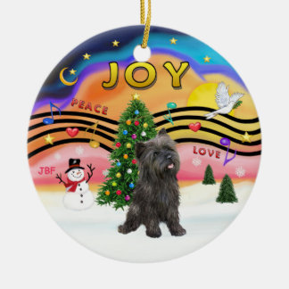 Xmas Music 2 - Cairn Terrier (brindle 21) Double-Sided Ceramic Round Christmas Ornament