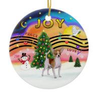 Xmas Music 2 - Chihuahua (brown-white) Christmas Tree Ornament