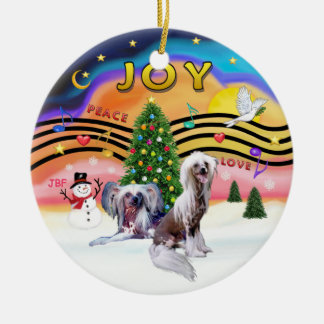 Xmas Music 2 - Chinese Crested (HL - two) Double-Sided Ceramic Round Christmas Ornament