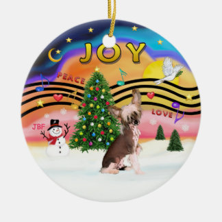 Xmas Music 2 - Chinese Crested Double-Sided Ceramic Round Christmas Ornament