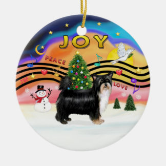 Xmas Music 2 - Chinese Crested (PUFF 3) Double-Sided Ceramic Round Christmas Ornament