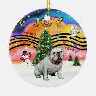 Xmas Music 2 - English Bulldog (white) Ceramic Ornament