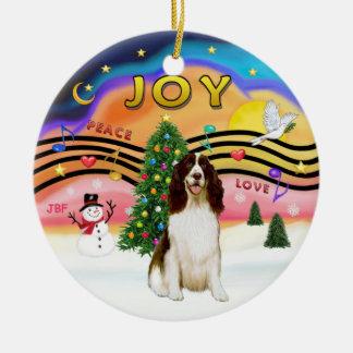 Xmas Music 2 - English Springer (Liver) Double-Sided Ceramic Round Christmas Ornament