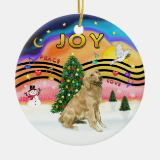 Xmas Music 2 - Godlen (b-light) Double-Sided Ceramic Round Christmas Ornament