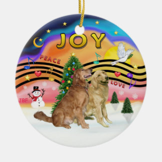 Xmas Music 2 - Golden Retrievers (TWO) Double-Sided Ceramic Round Christmas Ornament