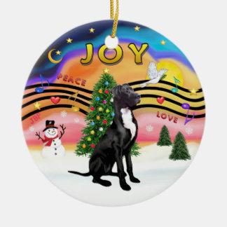 Xmas Music 2 - Great Dane black-natural Christmas Tree Ornament