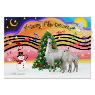 Xmas Music 2 - Llama Mama and Baby Greeting Card