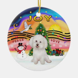 Xmas Music 2P - Bichon Frise 7 Ceramic Ornament