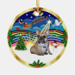 Xmas Music 3 - French Bulldog #16 Double-Sided Ceramic Round Christmas Ornament