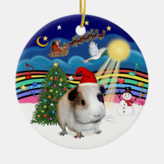 Xmas Music 3 - Guinea Pig #1 Double-Sided Ceramic Round Christmas Ornament