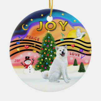 Xmas Music - Akita (white) Ceramic Ornament