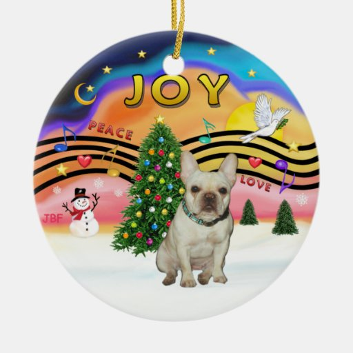 Xmas Music - French Bulldog (fawn) Double-Sided Ceramic Round Christmas Ornament
