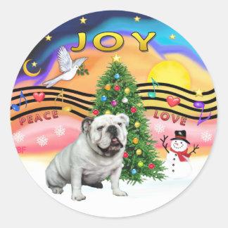 Xmas Music (R2) - English Bulldog (white) Round Stickers