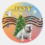 Xmas Music (R-Gr) - English Bulldog Round Sticker