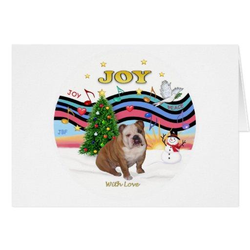 Xmas Music (RP) - English Bulldog 1 Greeting Card
