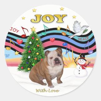 Xmas Music (RP) - English Bulldog 1 Round Stickers