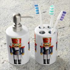 Xmas Nutcracker Soap Dispenser And Toothbrush Holder