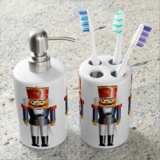 Xmas Nutcracker Soap Dispenser And Toothbrush Holder