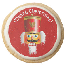Xmas Nutcracker Soldier With Red Festive Hat Round Shortbread Cookie