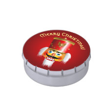 Xmas Nutcracker Soldier With Red Hussar Hat Candy Tin