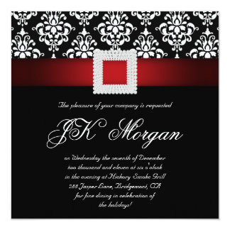 Xmas Office Party Invite Jewels Red Black White Sq