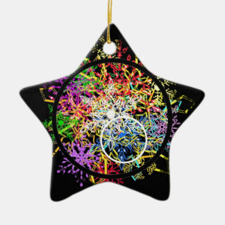 Xmas ornament... flakes in circles. ceramic ornament