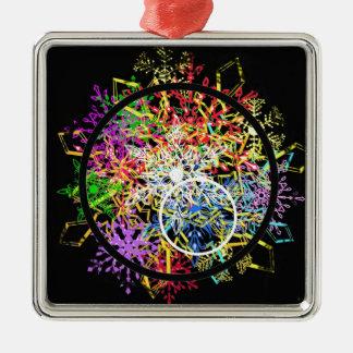 Xmas ornament... flakes in circles. metal ornament