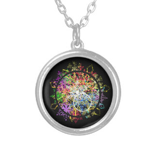 Xmas ornament... flakes in circles. personalized necklace