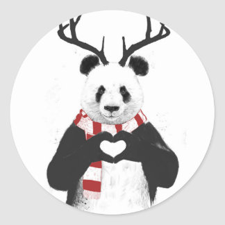 Xmas panda classic round sticker