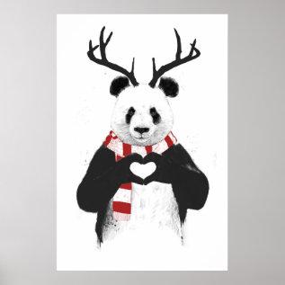 Xmas Panda Poster at Zazzle