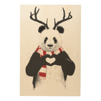 Xmas panda wood wall decor
