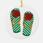 Xmas Party Flip Flops Double-Sided Ceramic Round Christmas Ornament