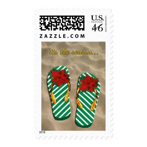 Xmas Party Flip Flops Postage Stamp