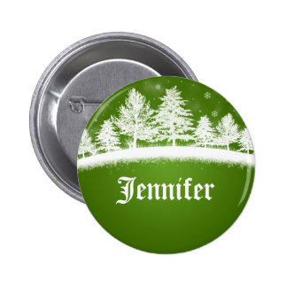 Xmas Party Name Tags Green 2 Inch Round Button