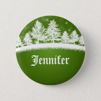 Xmas Party Name Tags Green Pinback Button