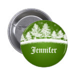Xmas Party Name Tags Green Pinback Buttons