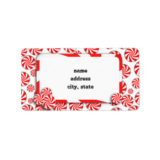 Xmas  Peppermint Candy Background w/ Removable Tag Personalized Address Labels