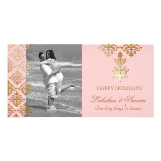 Xmas Photo Card Save the Date Damask Baby Pink