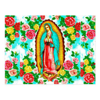 XMAS POSTCARD -ROSES & MADONNA OF GUADALUPE