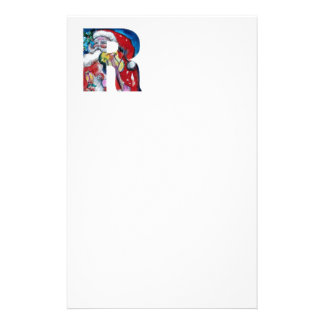 XMAS R LETTER /SANTA  CLAUS WITH VIOLIN MONOGRAM STATIONERY
