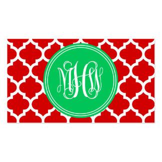 Xmas Red Moroccan #5 Emerald 3 Init Vine Monogram Business Card