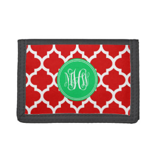 Xmas Red Moroccan #5 Emerald 3 Init Vine Monogram Trifold Wallets