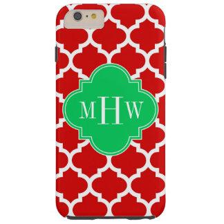 Xmas Red White Moroccan #5 Emerald Name Monogram Tough iPhone 6 Plus Case