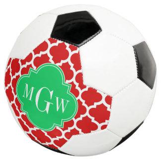 Xmas Red White Moroccan #5 Emerald Name Monogram Soccer Ball