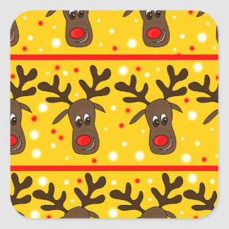 Xmas reindeer pattern - Yellow Square Sticker