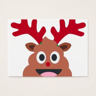 xmas reindeer poo emoji business card
